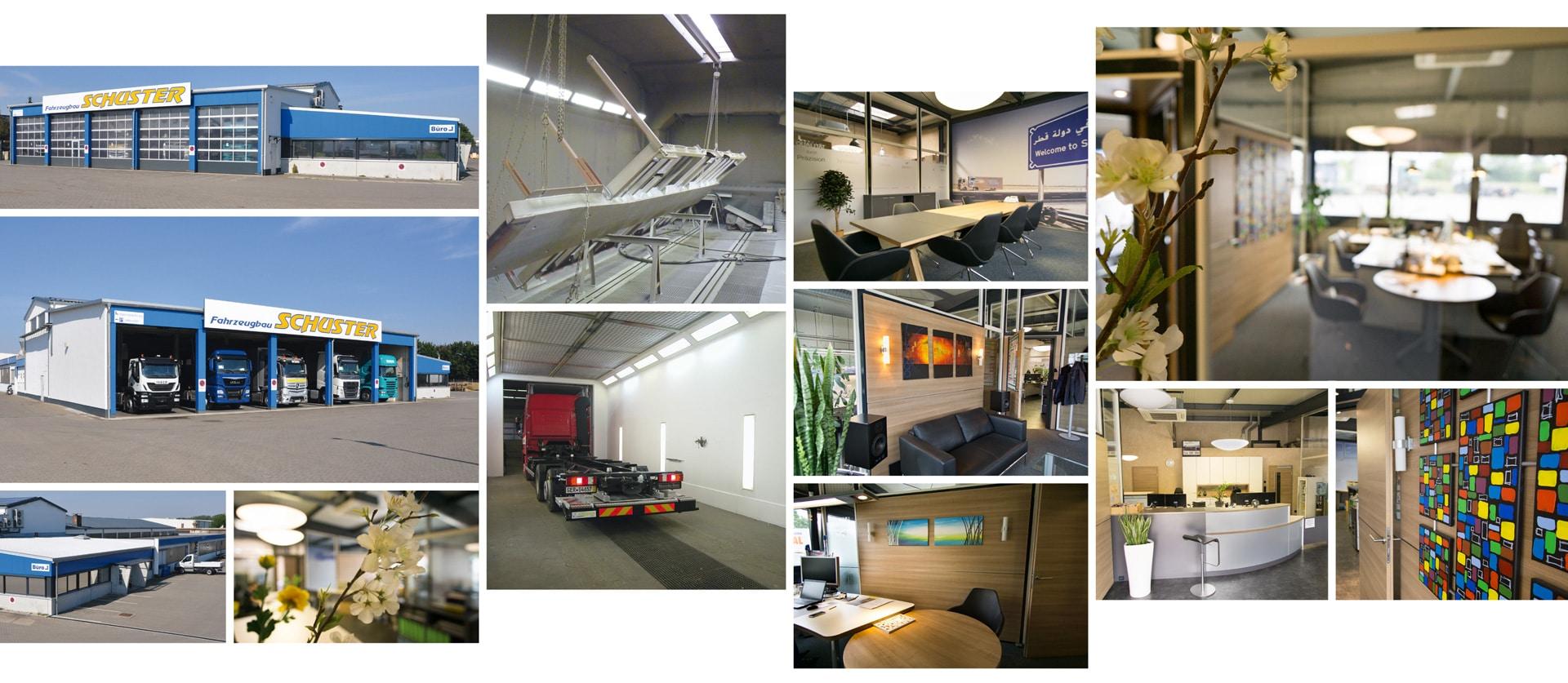 Gebäude und Innenansicht Fahrzeugbau Schuster